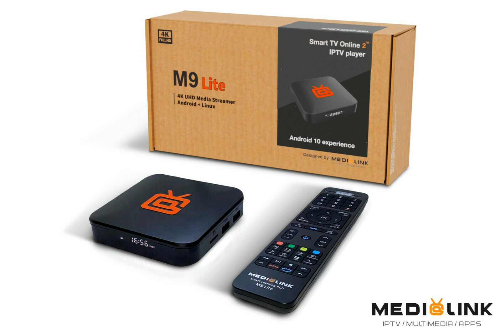 Medialink M9 Lite 4K UHD IP-Receiver (Android 10.0 + Linux, H.265, 60fps, HDMI, USB, LAN, MicroSD)