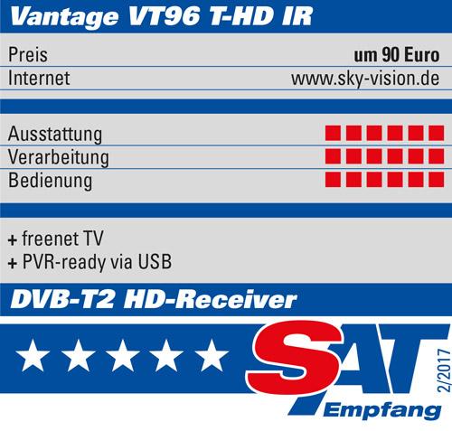 Vantage VT-96 T2 Receiver Irdeto, inkl. IR-Auge