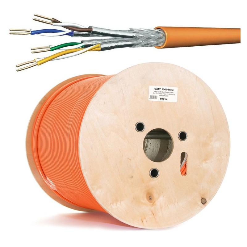 Cat.7 Netzwerkkabel Verlegekabel 1000 MHz S-FTP orange Halogenfrei,500 meter Spule