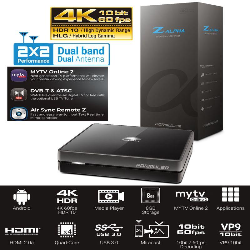 Formuler Z Alpha 4K UHD IPTV Android OS Media Player H.265 5GHz Wlan Schwarz