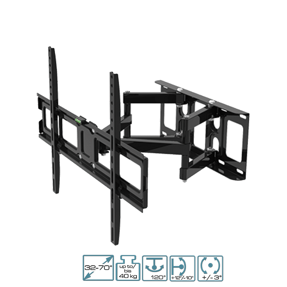 Vollbeweglicher Wandhalter für LCD TV 32-70 Zoll (81-178cm) bis 40Kg Schwarz