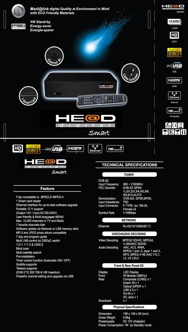 Head Medialink Black Panther Smart HD PVR LAN USB 1x Kartenleser