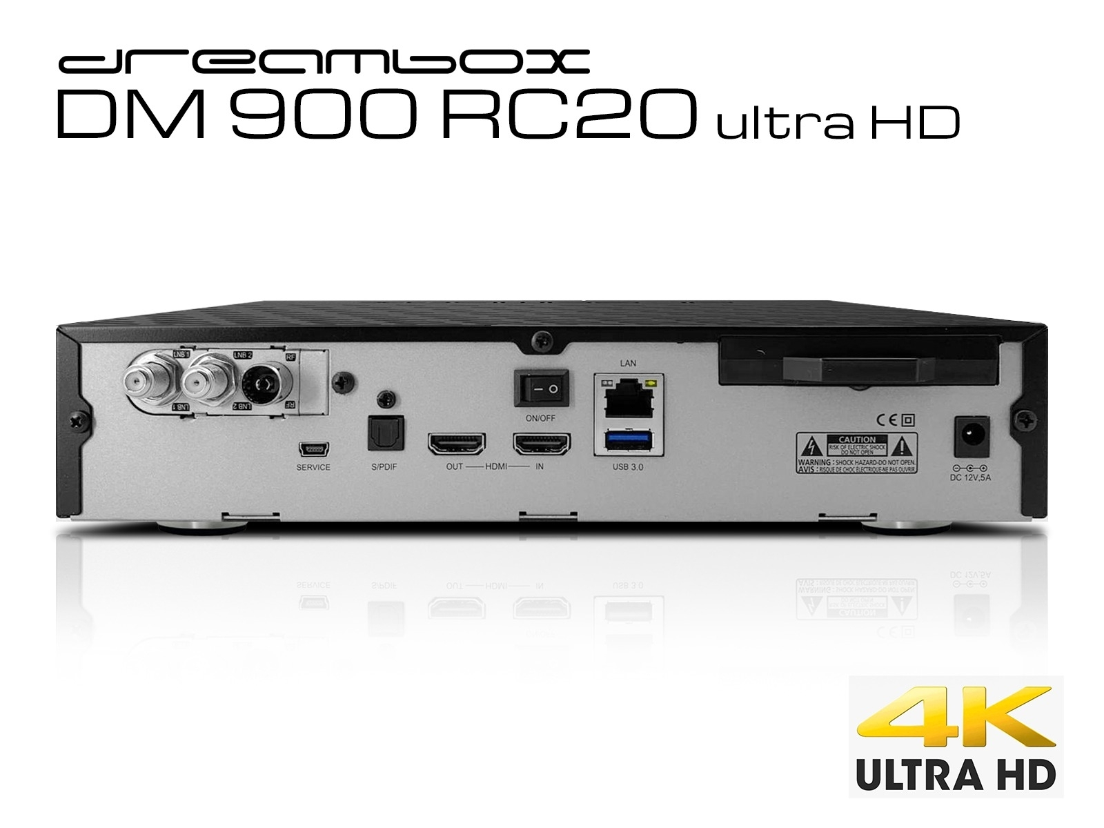 Dreambox DM900 RC20 UHD 4K 2x DVB-S2X / 1x DVB-C/T2 Triple MS Tuner E2 Linux PVR ready Receiver