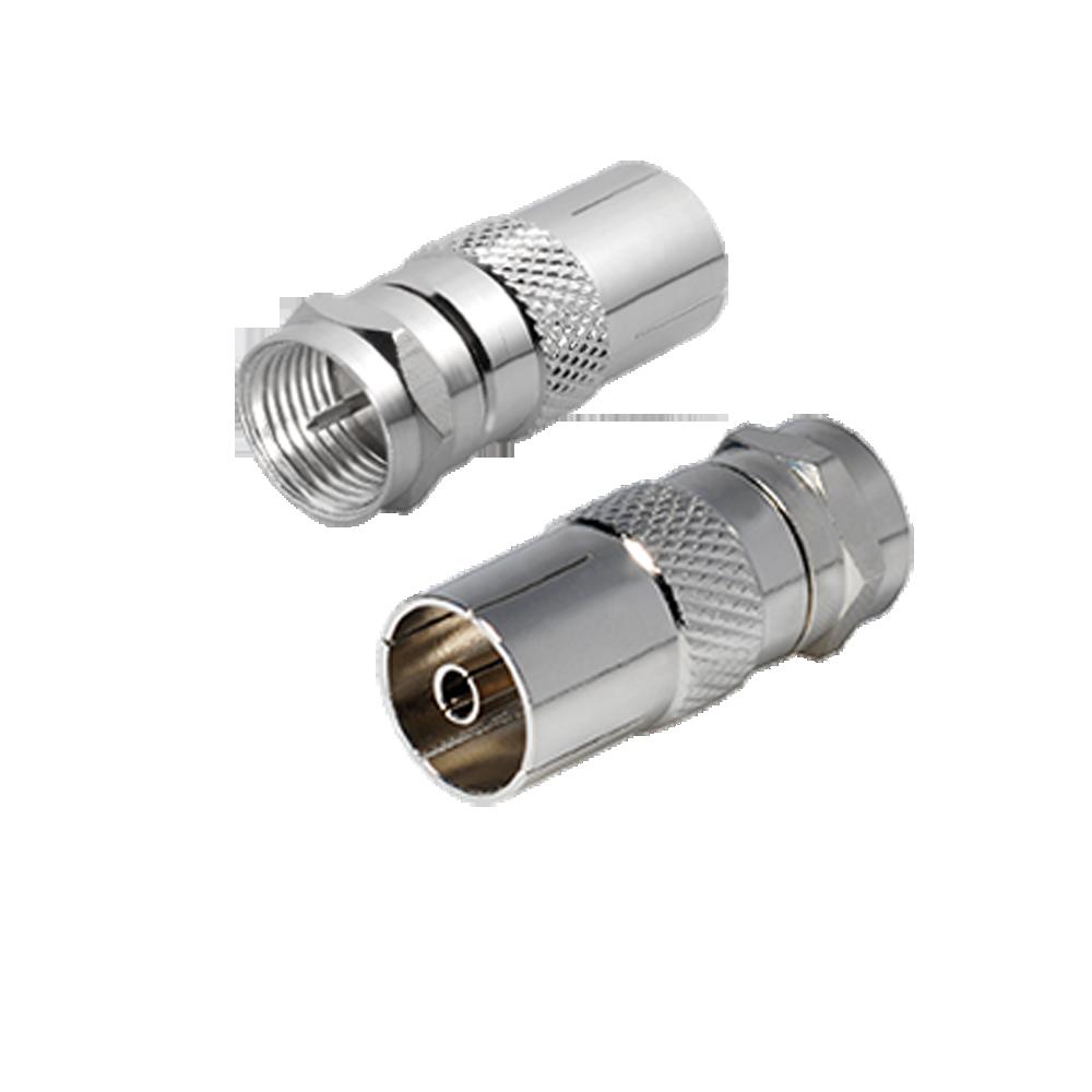 SAT-Adapter F-Stecker-Koax-Kupplung 9,5mm vernickelt