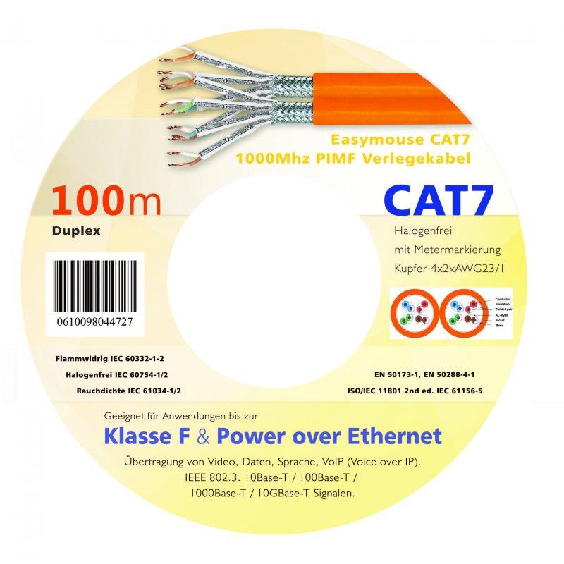 Easymouse CAT7 Gigabit Netzwerk - Verlegekabel S/FTP 1000Mhz PIMF 100m Duplex in Holzspule