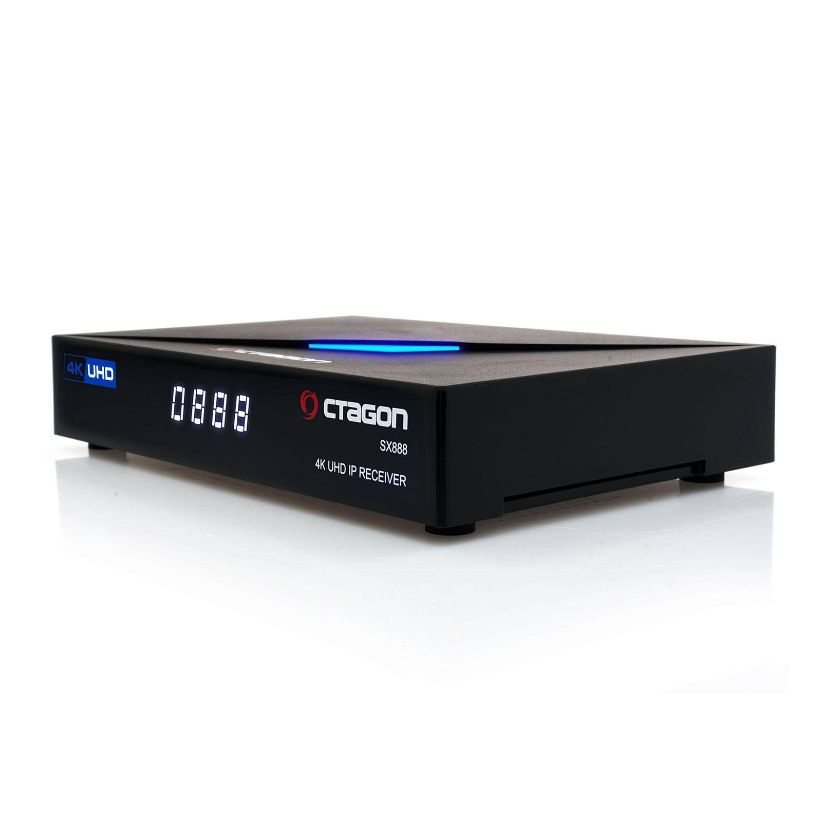OCTAGON SX888 4K ULTRA HD IP HDMI USB H.265 Stalker Multistream IPTV Receiver Schwarz