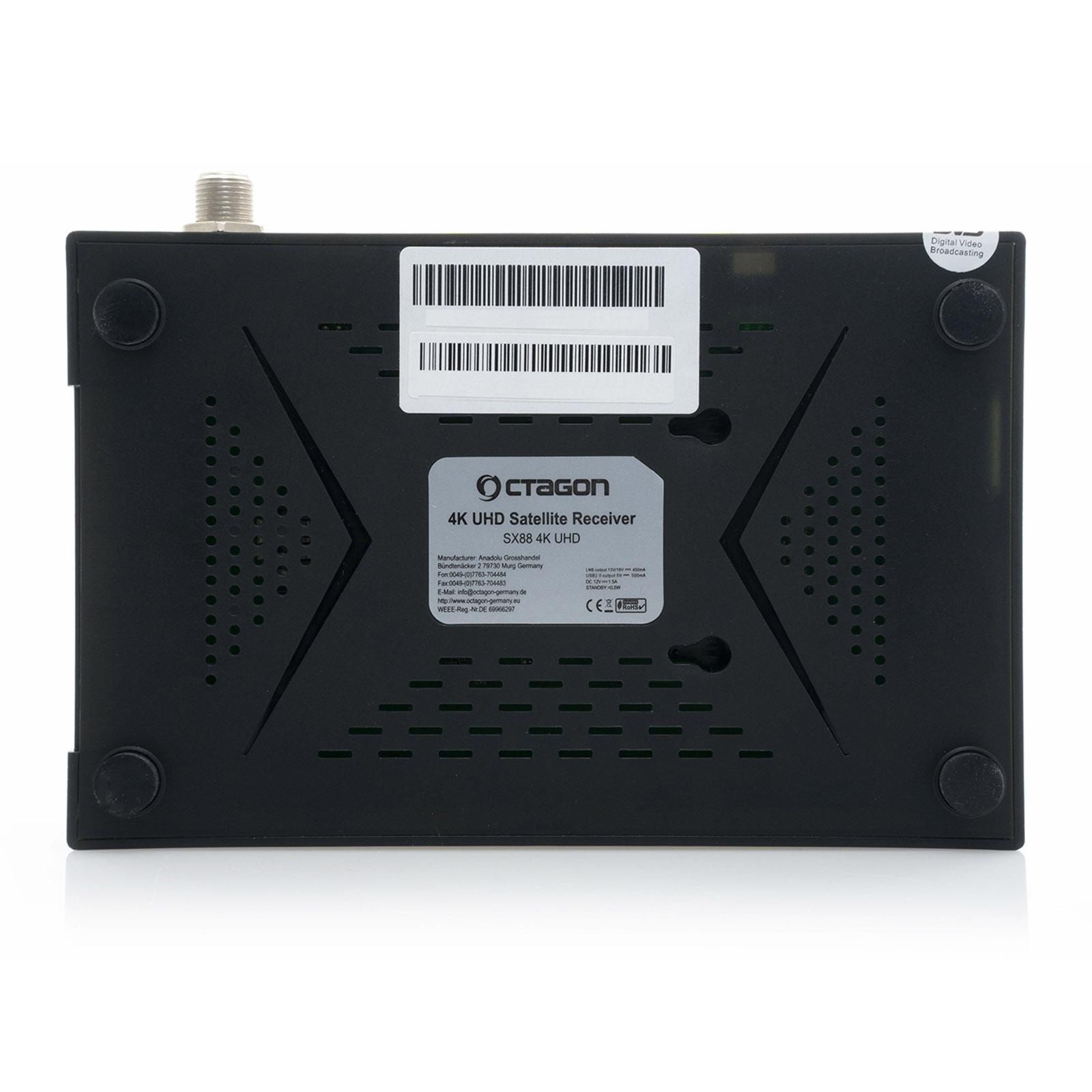 OCTAGON SX88 4K UHD S2+IP HDMI USB Kartenleser H.265 Stalker IPTV Multistream Receiver Schwarz