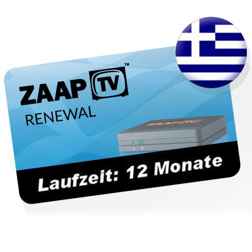 ZaapTV Verlängerung für ZaapTV Greek Cloodtv4u IPTV - Griechisches Senderpaket - Verlängerung für 12 Monate