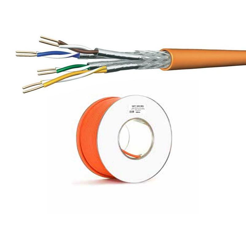 Cat.7 Netzwerkkabel Verlegekabel 1000 MHz S-FTP orange Halogenfrei,100 meter Spule
