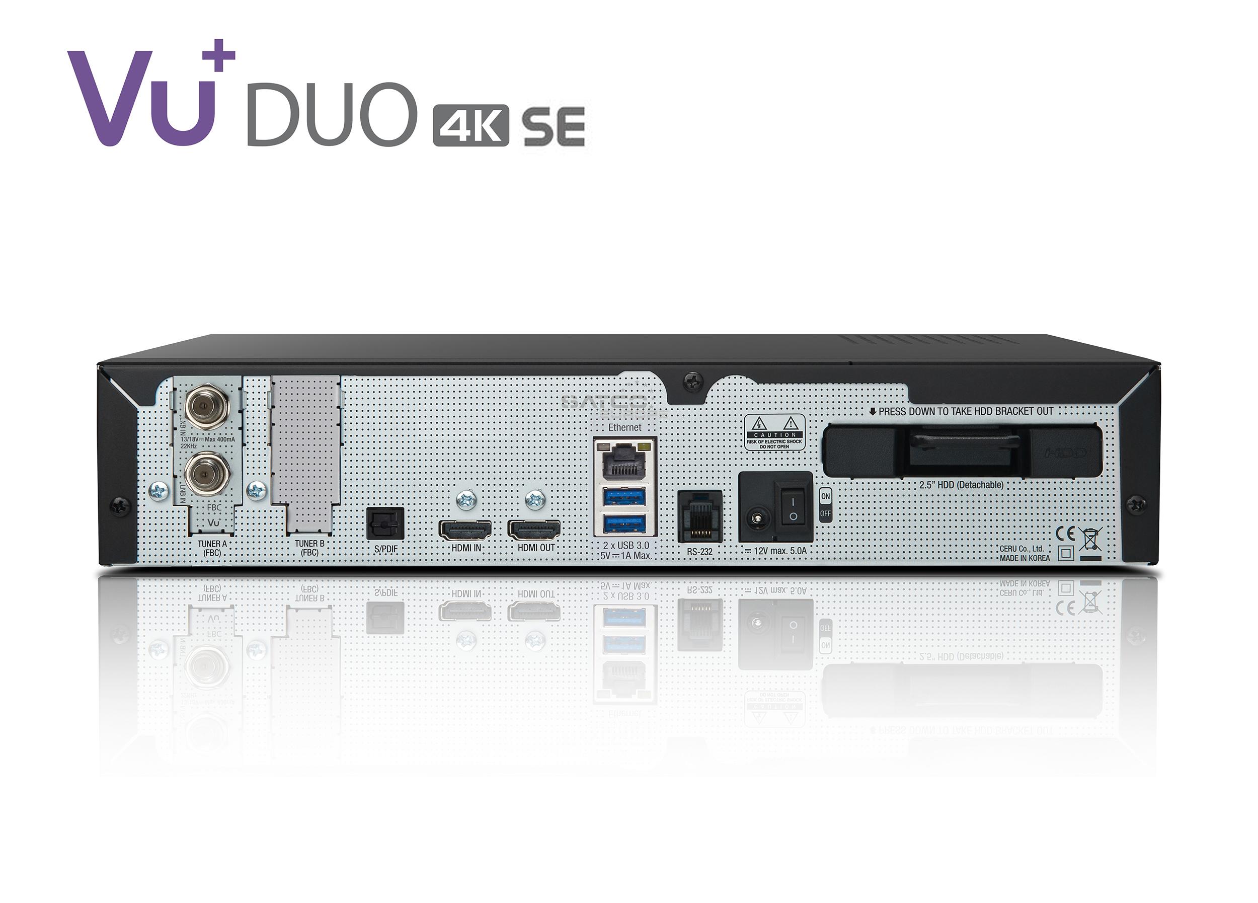 VU+ Duo 4K SE BT 1x DVB-S2X FBC Twin Tuner PVR ready Linux Receiver UHD 2160p
