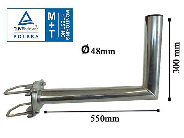 Wandhalter mit Zahnschelle Ø48mm 550 mm lang TÜV Zertifiziert