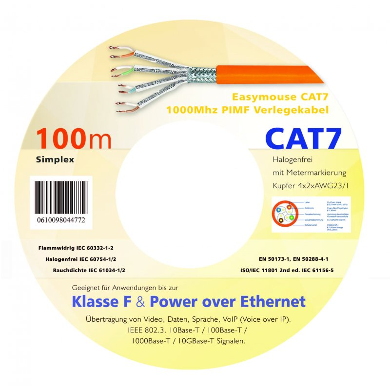 Easymouse CAT7 Gigabit Netzwerk - Verlegekabel S/FTP 1000Mhz PIMF 100m Simplex in Holzspule