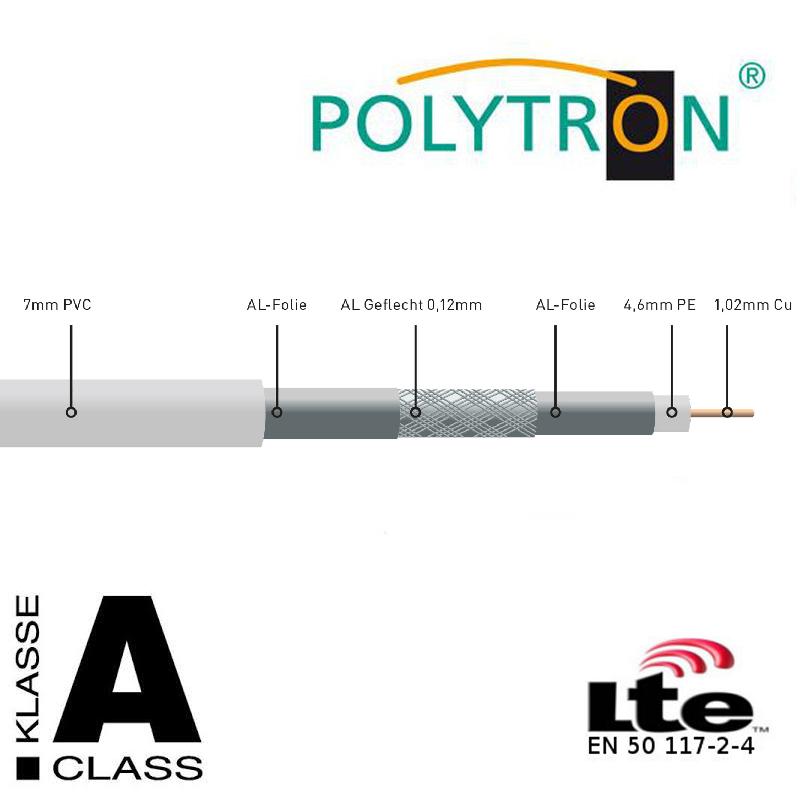 Polytron POKA 110 Class A Hochwertige Koaxialkabel, LTE geschirmt,Vollkupfer,100meter