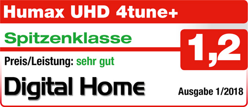 HUMAX Digital UHD 4tune+ Quad Tuner (6 Mon. HD Plus, PVR Ready, WLAN, Bluetooth, CI+, IP Server, UPn