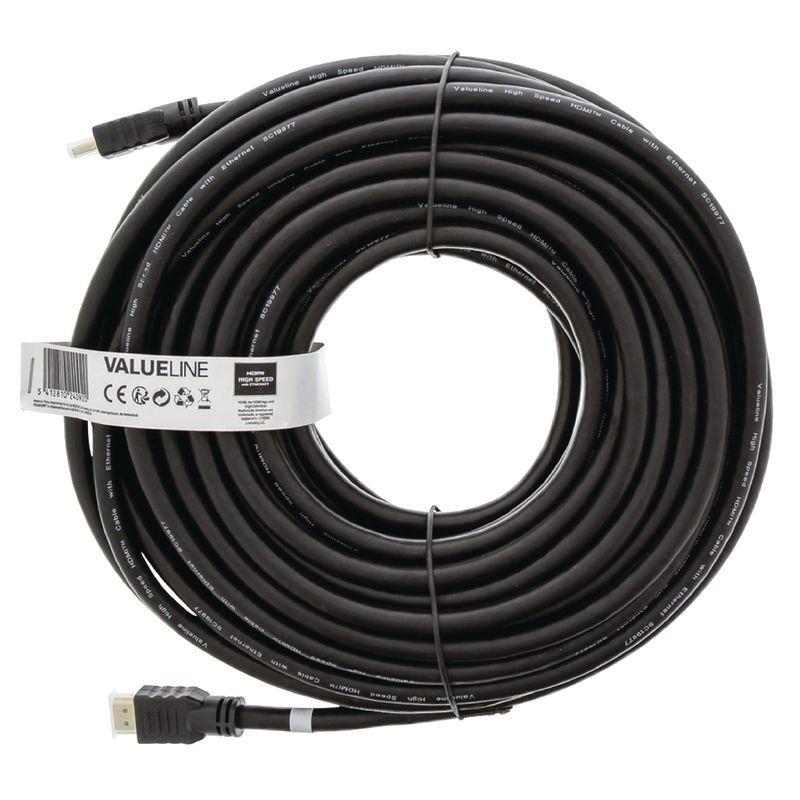 Valueline High Speed HDMI Kabel mit Ethernet HDMI Anschluss 20.00 m Schwarz