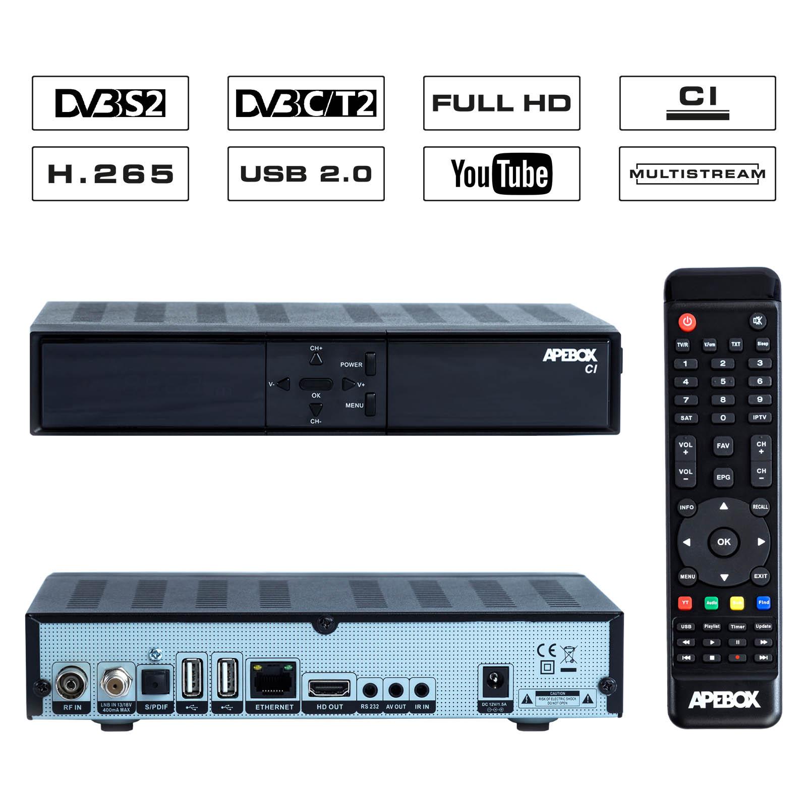APEBOX CI FULL HD H.265 LAN HDMI 1X DVB-S2 MULTISTREAM 1X DVB-T2/C COMBO RECEIVER