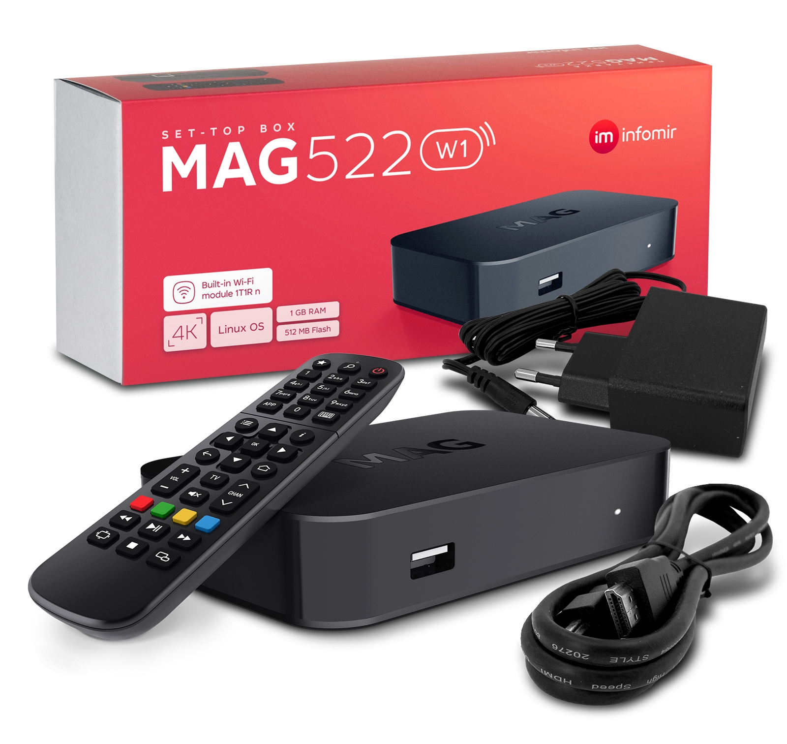 MAG 522w1 IP TV Internet Streamer HEVC H.265 WIFI 4K UHD 60FPS Linux USB LAN HDMI