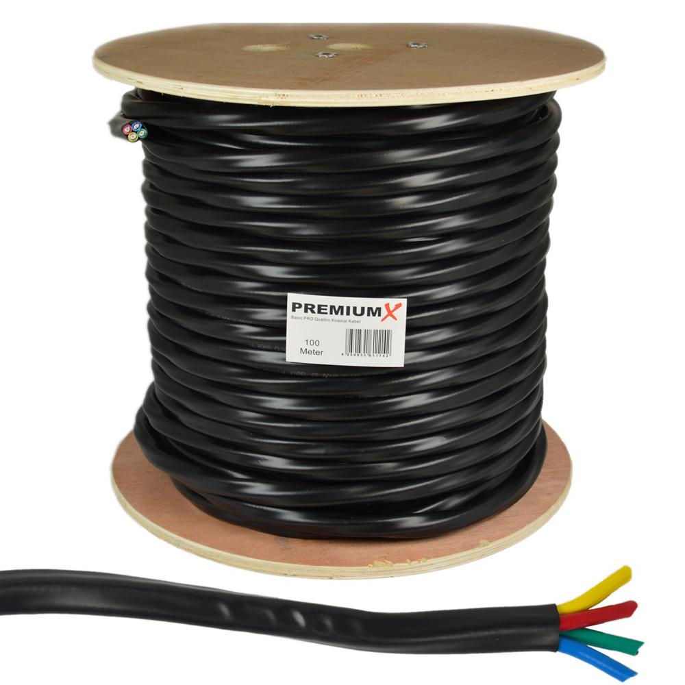 PremiumX 100m Basic PRO Quattro Koaxial SAT Kabel 90dB 2-Fach geschirmt Schwarz