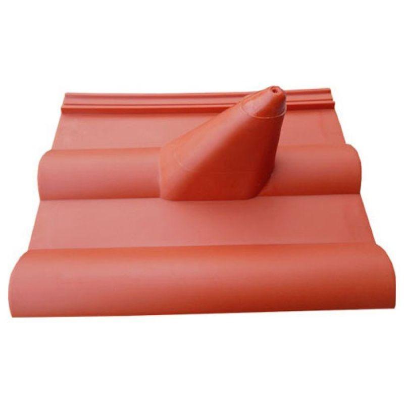 Dachpfanne Dachziegel PVC Abdeckung Frankfurter Finkenberger Ziegelrot