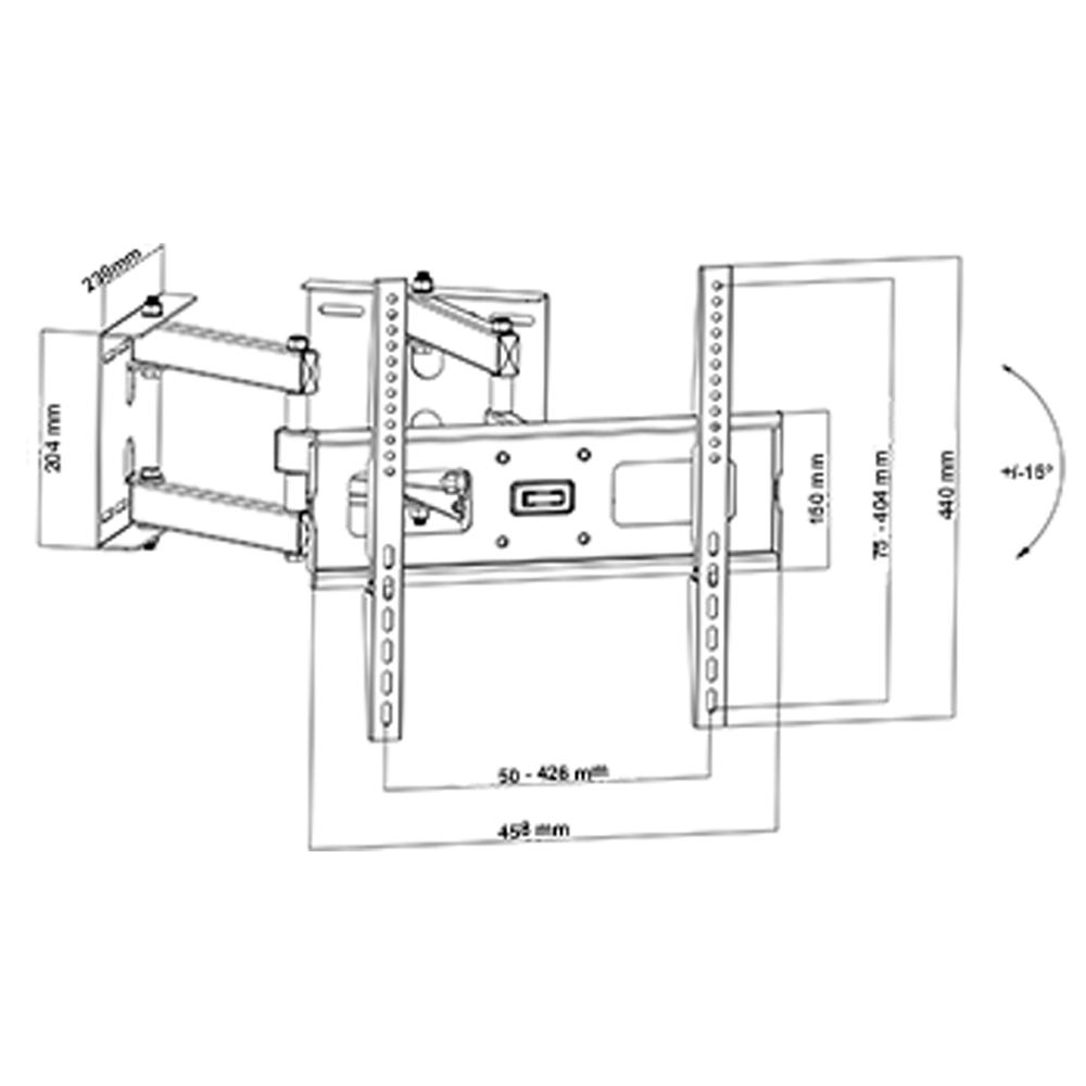 Wandhalter Eckmontage für LCD - LED - Plasma - TV Fernsehen 32 - 55 Zoll (81-140cm) Schwarz
