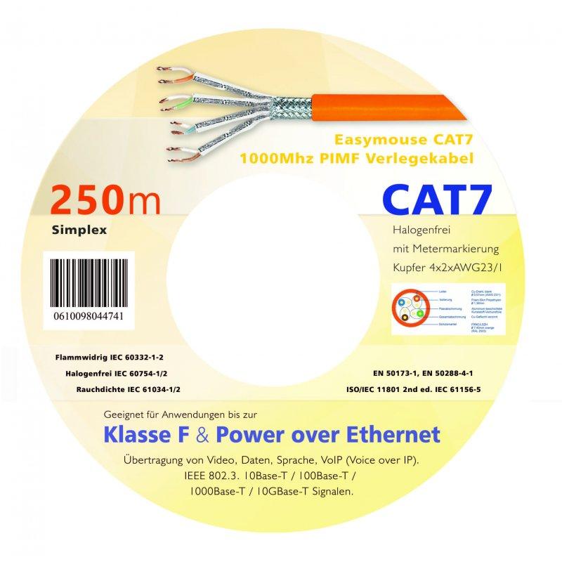 Easymouse CAT7 Gigabit Netzwerk - Verlegekabel S/FTP 1000Mhz PIMF 250m Simplex in Holzspule