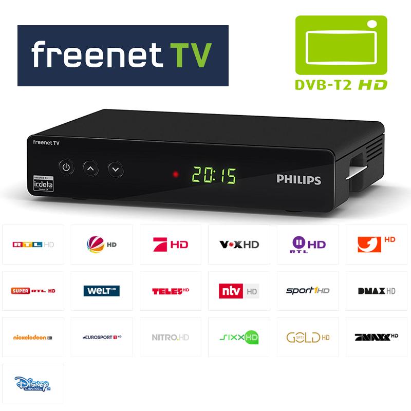 Philips DTR3442B DVB-T2 H.265 Irdeto Freenet Full HD Receiver USB Mediaplayer Schwarz