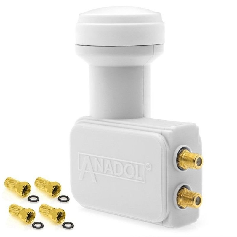 Anadol Gold Line Twin LNB 0.1 dB 2 Teilnehmer inklusive 4 vergoldete F-Stecker