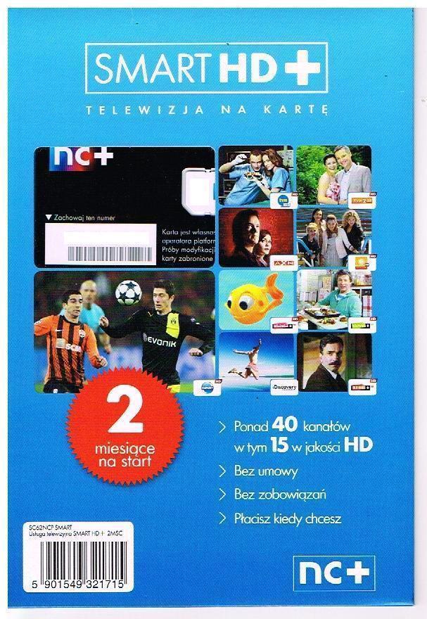 Telewizja na karte TNK Smart HD+ karta startowa 2 Monate Polsat Polska TV Conax